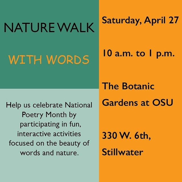 Don't forget about our event this Saturday, Nature Walk with Words celebrating National Poetry Month! Join us for fun and interactive games that all ages will enjoy! 10 a.m. to 1 p.m. at the OSU Botanical Gardens!