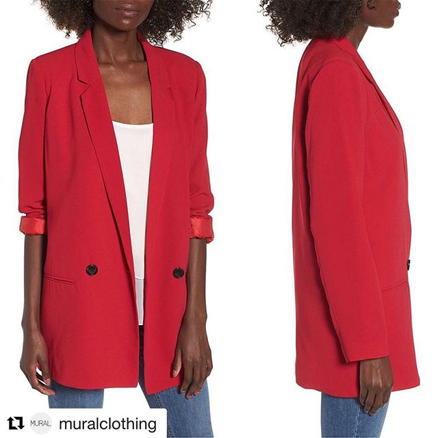 #Repost @muralclothing ・・・ Oversize Blazer  Bright color updates the look of this oversized blazer that makes a contemporary addition to denim or slouchy pants. Available Now in Red Lipstick Only @Nordstrom Online Stores! . . . . . #muralclothing #nordstrom #savvy #ootd #womenswear #blazer #blazers #contemporary #fashion #oversizeblazer #red #lipstick