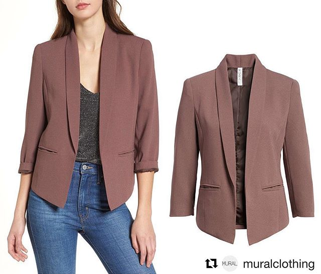 #Repost @muralclothing ・・・ 'Curve' Open Front Shawl Collar in Purple Taupe Made from nicely weighted crepe, this updated smartly styled open-front blazer features a sleek shawl collar and a curved hem that's shorter in back for a fashionably cool look. Available Now, Exclusively @Nordstrom Online! . . . . . #muralclothing #nordstrom #savvy #ootd #womenswear  #jacket #contemporary #fashion #shawl #purple #taupe #collar #curveblazer #crepe #sleek