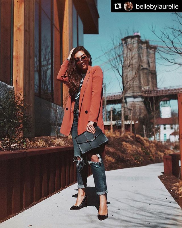 """#Repost @bellebylaurelle wearing our classic Oversized Blazer in Rust Marsala! 🧡✨ ・・・ """"Another day, another blazer... what's your favorite thing to wear?! I love the no-nonsense, strong element that a good blazer adds to a look, especially when paired with heels"""" . . . . . #nordstrom #muralclothing #blazer #womenswear #outerwear #rustblazer #travelwear #fashionblazer #wiw #wiwt #liketkit #fashion #ootd #trendy #savvy #contemporary #newlook #chic #citystyle #instastyle #jackets #aboutalook #instastyle #fblogger #fashionlover #ootdshare #lookoftheday #fashionable #womenswear #ltkit #streetstyle"""