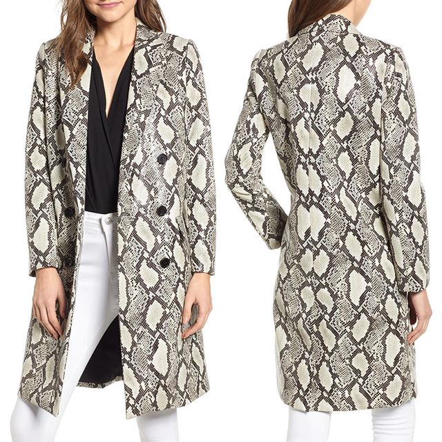 """Snakeskin Faux Leather Jacket Now Available@Nordstrom Online and Select Full Line Stores! """"Python, the season's most chic animal pattern, is turned into a statement topper of embossed faux leather with double-breasted styling."""" . . . . . #muralclothing #nordstorm #savvy #contemporary #fashion #fblog #style #snakeskin #leather #leatherjacket #pattern #womenswear #fauxleather #fashion #newstyles #newlook #ltkit#jacket #ootd #snakeleather #chic #jackets #outerwear #instastyle"""