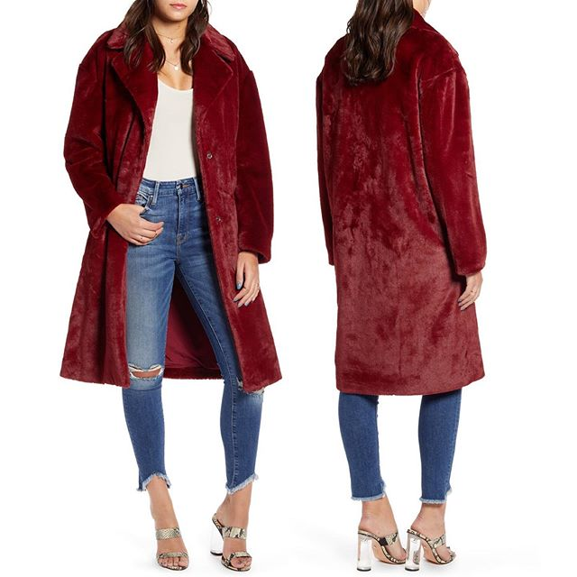 """Long Faux Fur Coat in Burgundy """"Get on board with the rich style and softness of faux fur in this silky-smooth coat in an oversized cut."""" Available at @Nordstrom Online and Select Full Line Stores! . . . . . #muralclothing #nordstrom #savvy #contemporary #fashion #coat #jacket #fauxfur #outerwear #womenswear #style #styleblogger #wiwd #ootd #ltkit #burgundycoat #fallstyle #longcoat #oversizedcoat #fblogger #trendy"""