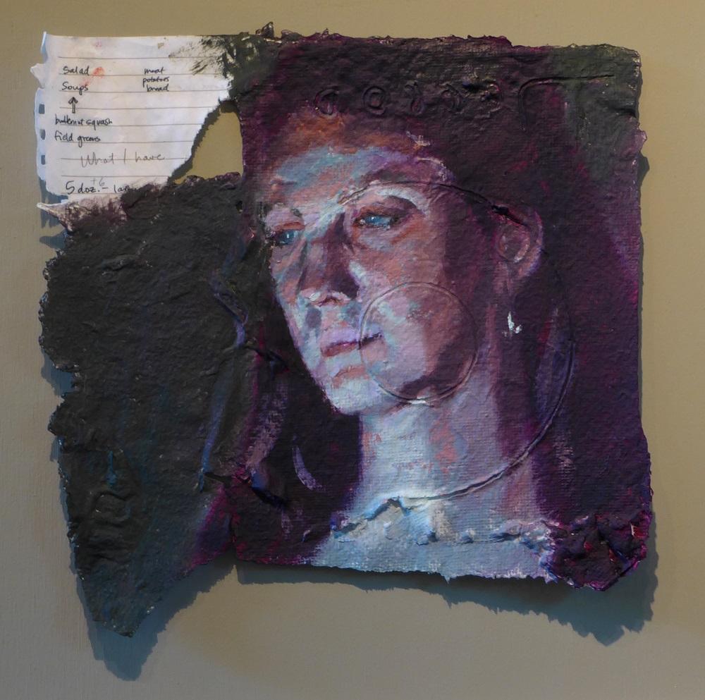 "Computer-lit face #38  12""x12"", Oil on handmade paper"
