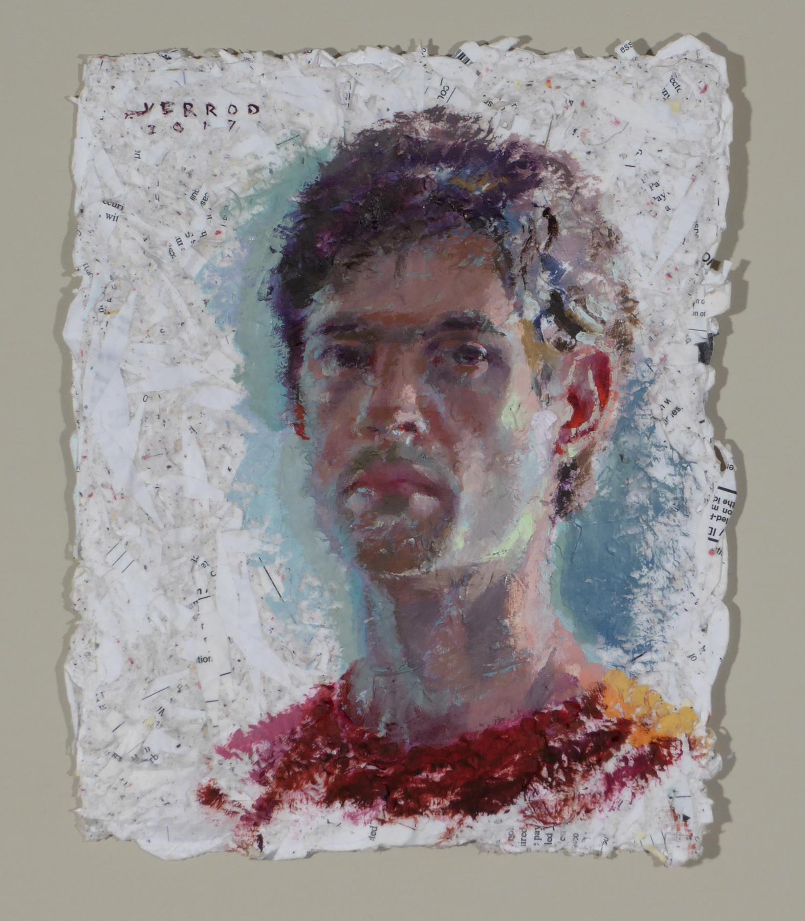 """""""Self Portrait""""  8""""x10"""", oil on shredded bill statements"""