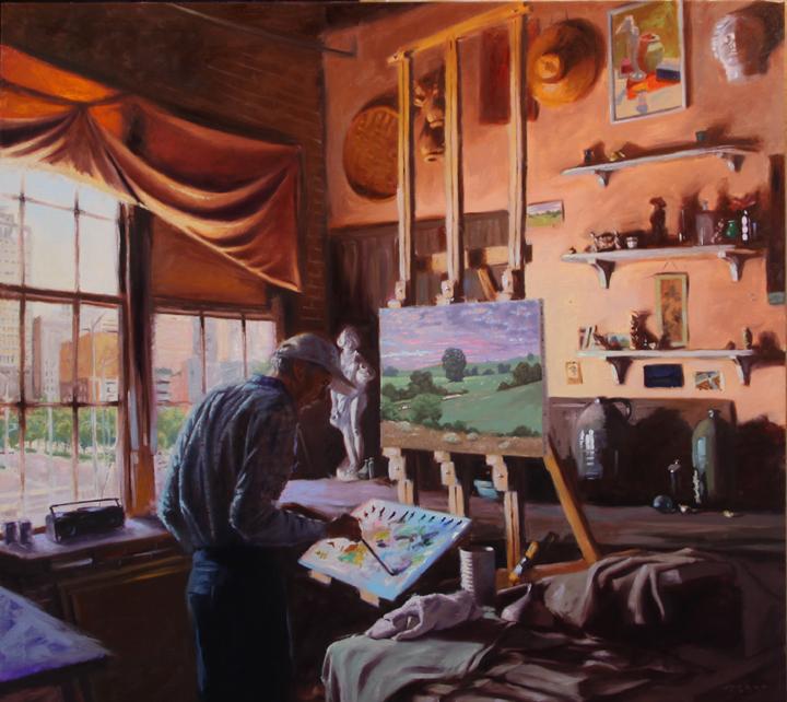 """Richard Kelso in his studio""  40""x44"", oil on linen"