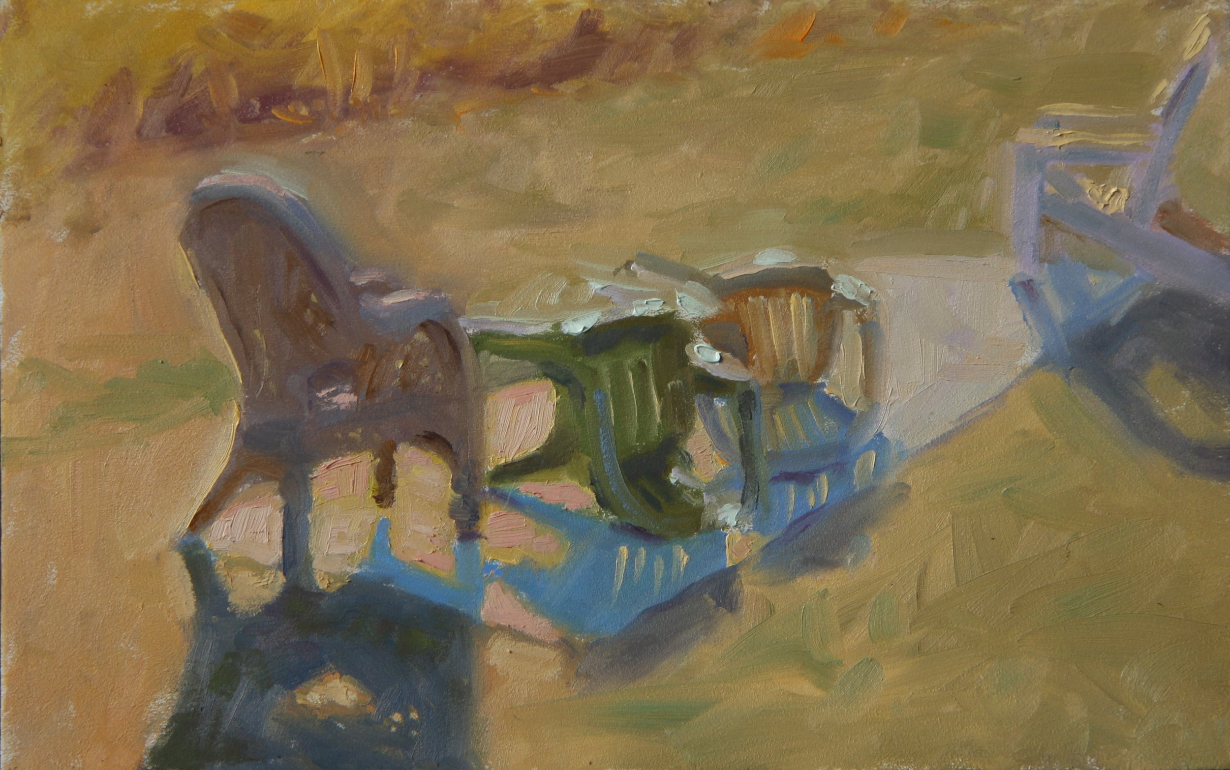 """DeLoach's Chairs""  Oil on panel"