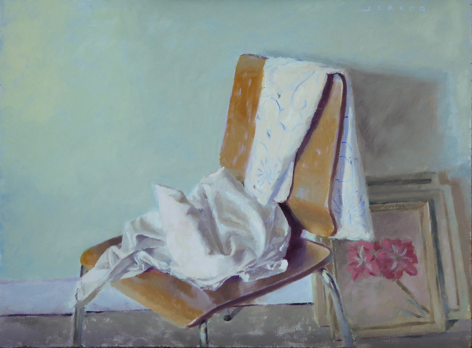"""Table cloths on wooden chair (in memory of Milton 'Bud' Matthews)"" 12x16"" Oil on panel"