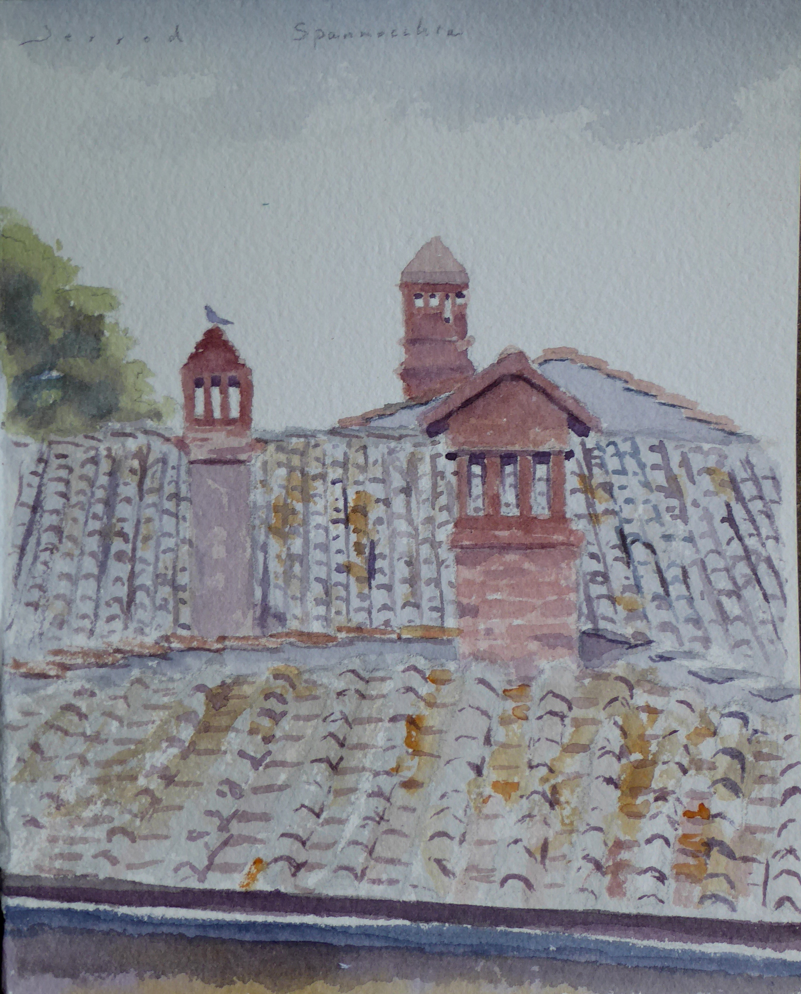 """Farmhouse rooftops""  Watercolor  5""x7"""