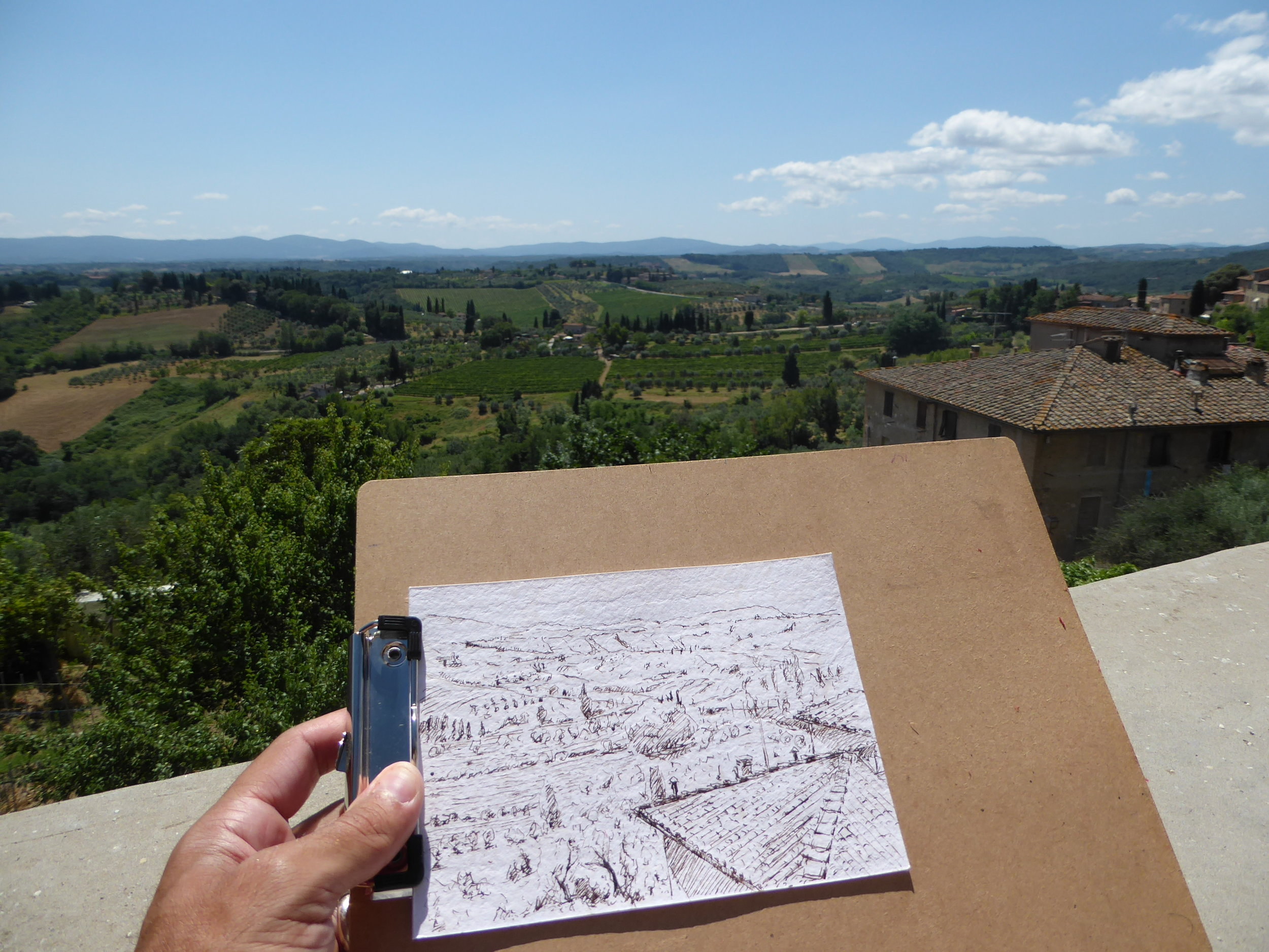 Walnut ink drawing of San Gimignano view.