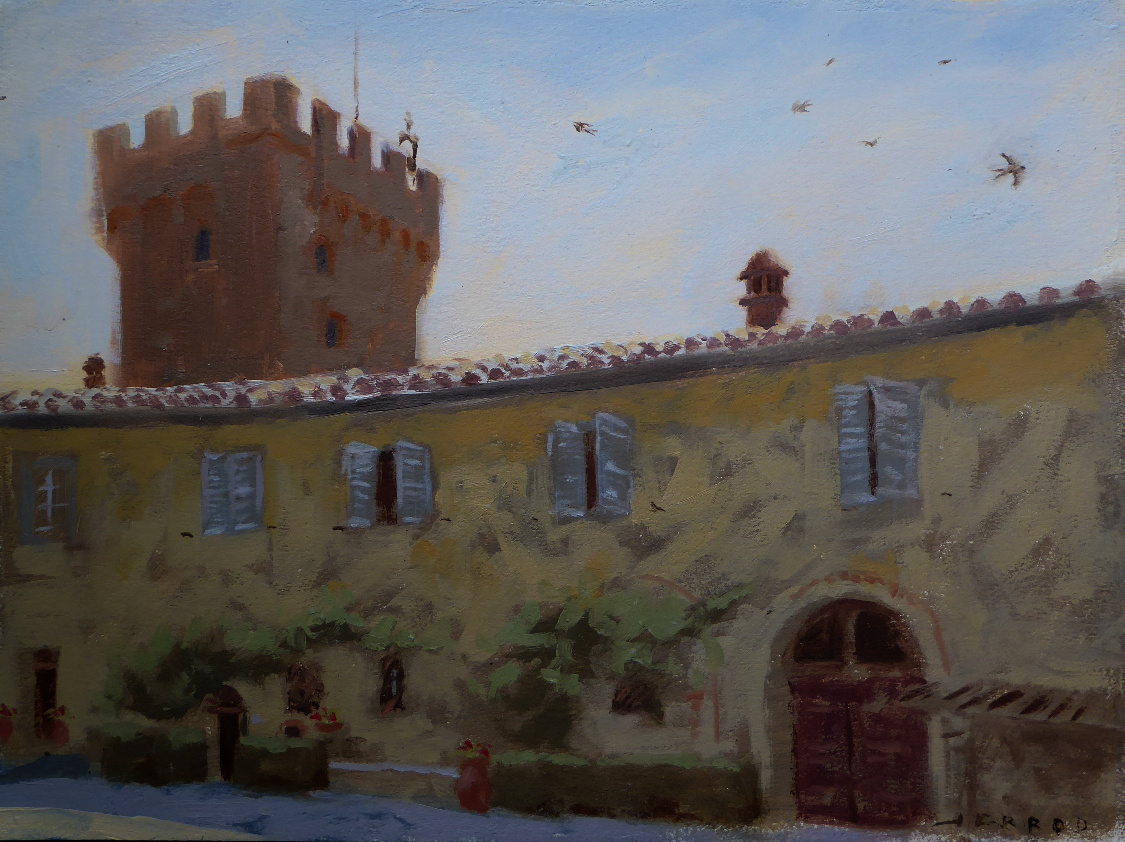 "Fattoria and tower at Spannocchia Oil 9""x12"""