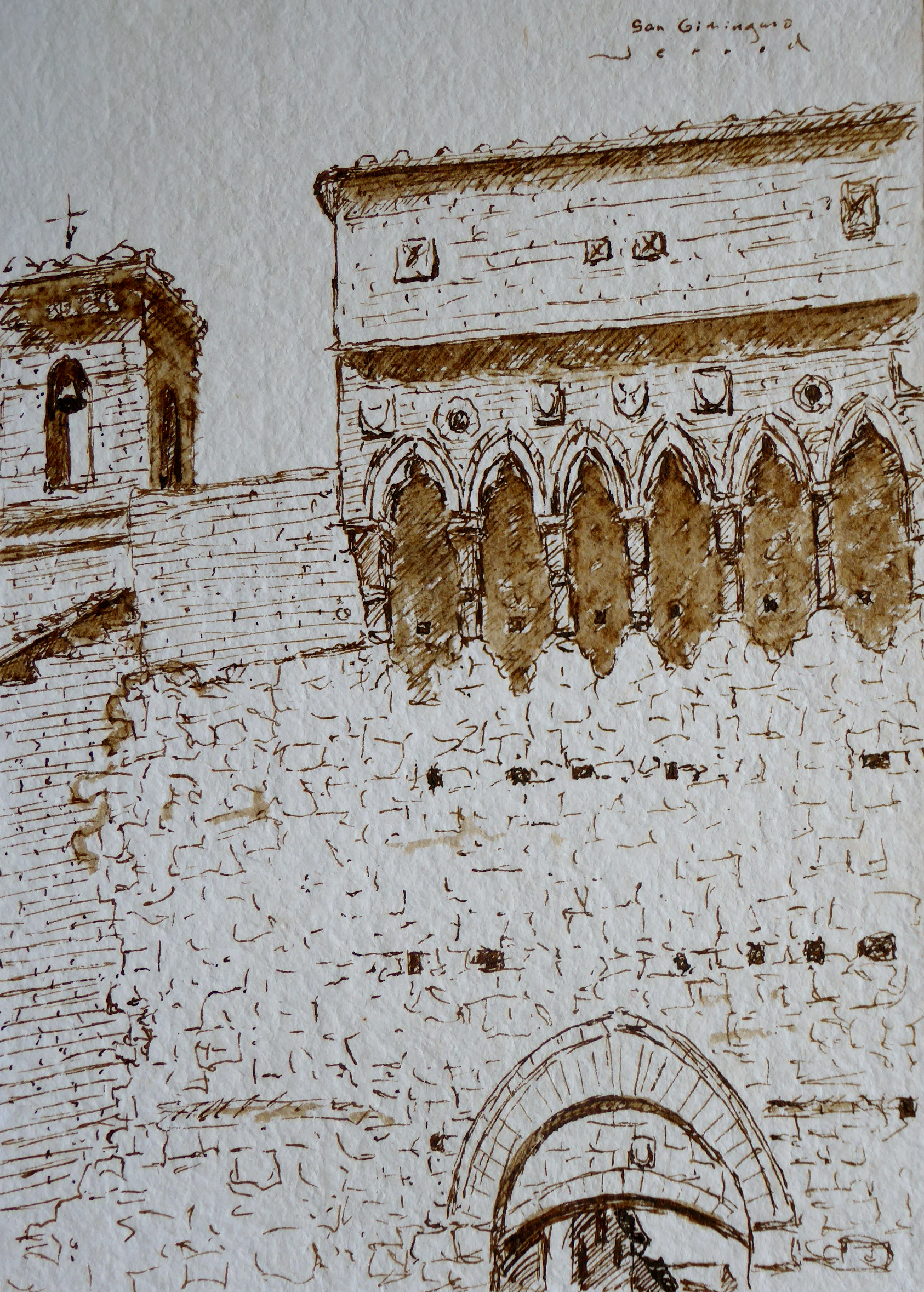 "Walnut ink drawing of San Gimignano Gate 5""x7"""