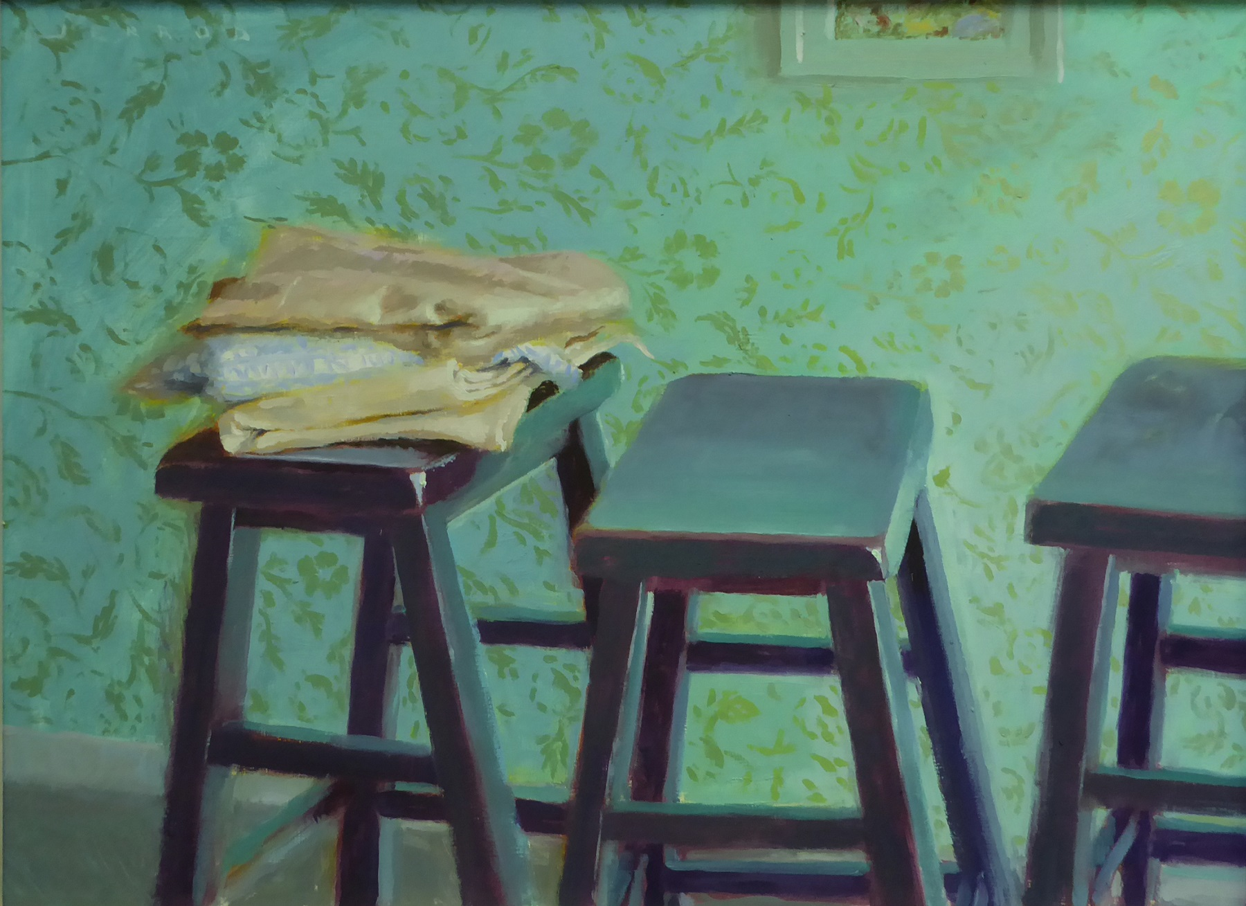 """""""Fabric with three stools""""  Oil on panel - 12""""x16"""""""