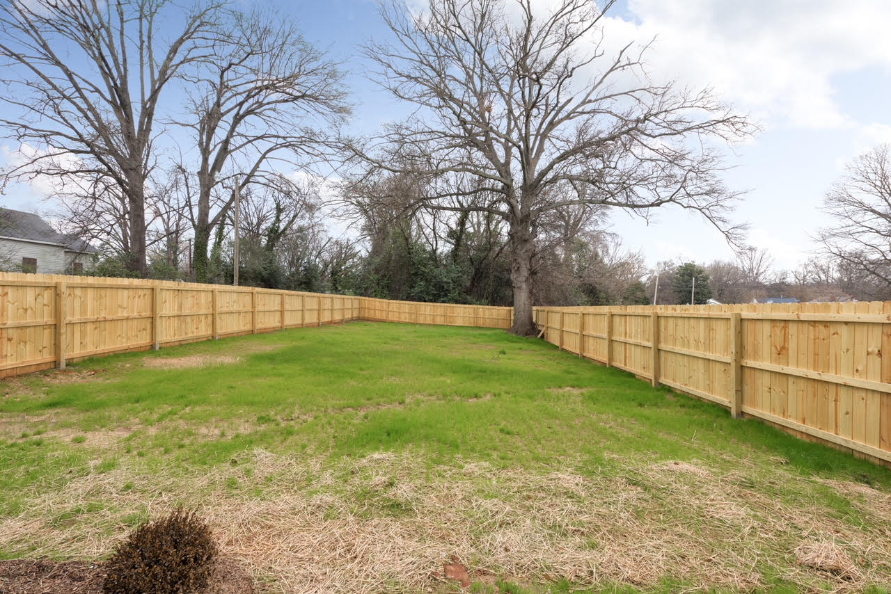 Large fenced in backyard