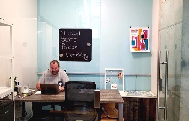 We see you over there, class clowns, and we wholeheartedly support your creativity. #michaelscottpapercompany . [Project: Single Private Office at @25ncoworking in Arlington Heights, IL #designedbyWPS] . #flexoffice #coworkingspace #coworking #officeinspo #coworkingspacedesign #coworkingdesign #workspacedesign #workplacestrategy #gwaconference #officedesign #gwaconference19