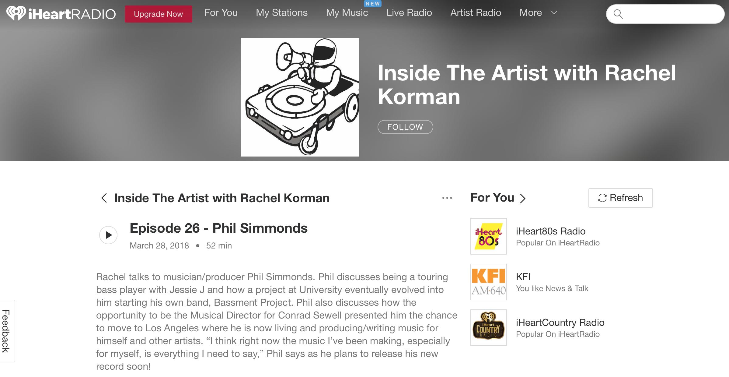 Inside The Artist: Interview - iHeart Media - Podcast w/ Rachel Korman