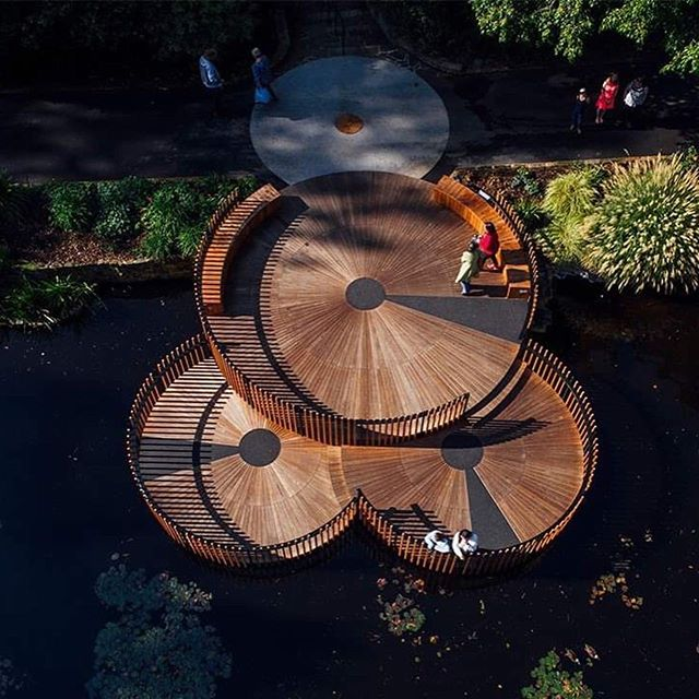 The Lily Pads are @inspiringplace_au competition-winning entry to replace the ageing deck over the Royal Tasmanian Botanical Gardens' famous lily pond as part of the Gardens' bicentennial celebrations. Conceived of as over-scaled lily pads, the result is three circular timber decks, which, while meeting the programmatic requirement to hold fifty people, show rare restraint in an important heritage landscape setting. . . 2019 TAS AWARD OF EXCELLENCE - SMALL PROJECTS. . . #landscapearchprojects #landscapearchitects #landscapearchiture #landscapearch #thelilypads #inspiringplace #royaltasmanianbotanicalgardens #botanicalgardens #pond #deck #heritage #ecosystems #gardens #heritage #timber #tas #designedbyalandscapearchitect #aila . . @aila_national