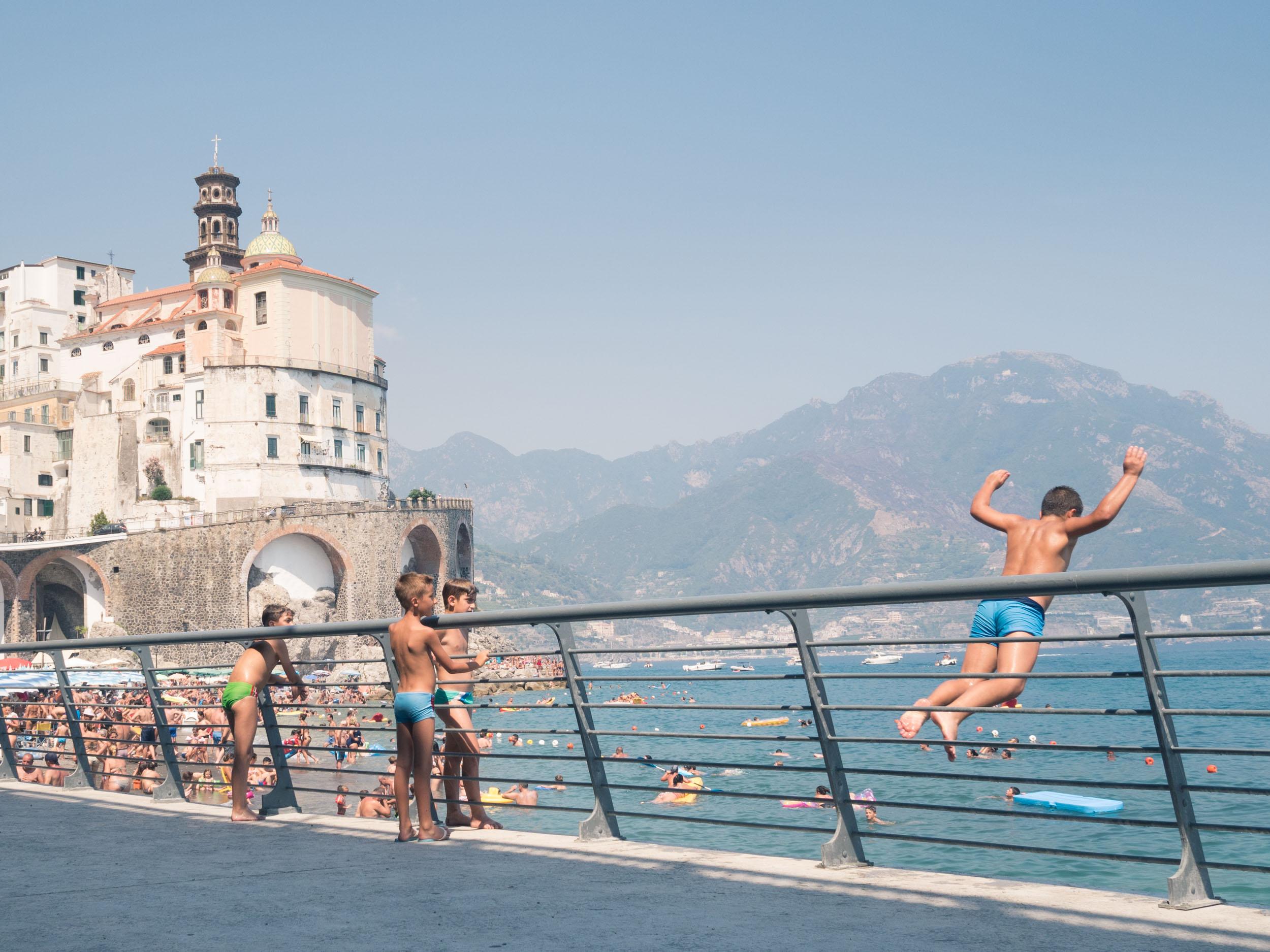 Kids playing in the city of Atrani, Amalfi Coast, Italy.
