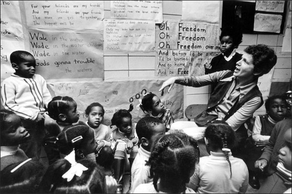 Deborah Meier engaged in a democratic classroom at Central Park East in the 1960s.