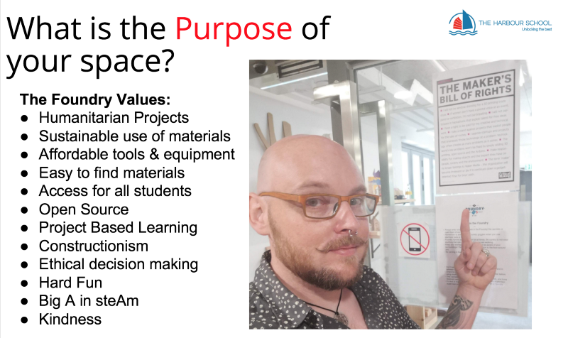 Slide from my presentation about setting the purpose of your space