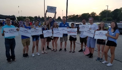 Young volunteers and staff with Tom and Emily Siegrist.