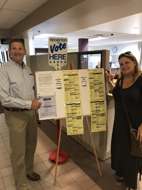Terri and I voting at Brookfield City Hall