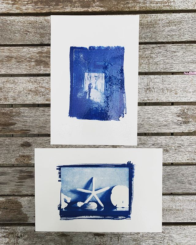Trying to take advantage of the nice weather and do some outside artwork: cyanotypes on Arches fresh from the wash. . #cyanotype #alternativeprocess #altpro #archespaper #aquarelle #bostickandsullivan