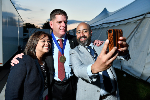 Mayor Marty Walsh of Boston with Health Commissioner Monica Lupi and Health and Human Services Director, Marty Martinez