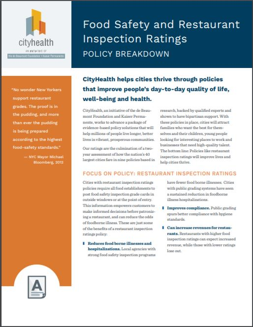 Policy Brief: Food Safety and Restaurant Inspection Ratings