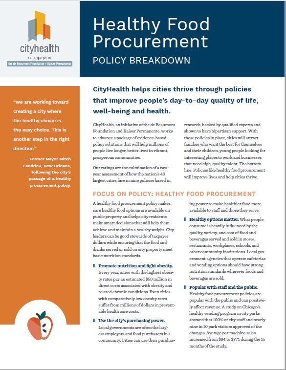 Policy Brief: Healthy Food Procurement