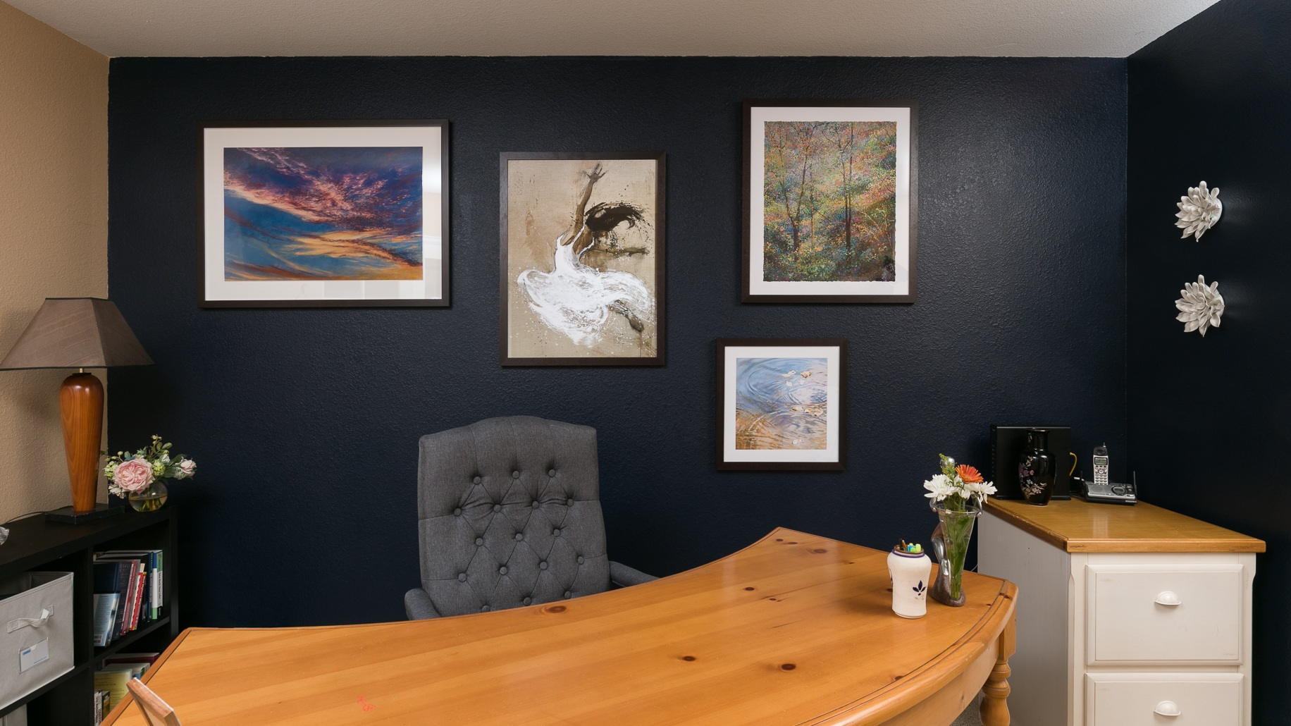 Home Office, Denver CO., After,. Artist- Laura Guese (far left), Grand Image prints (remaining pieces)