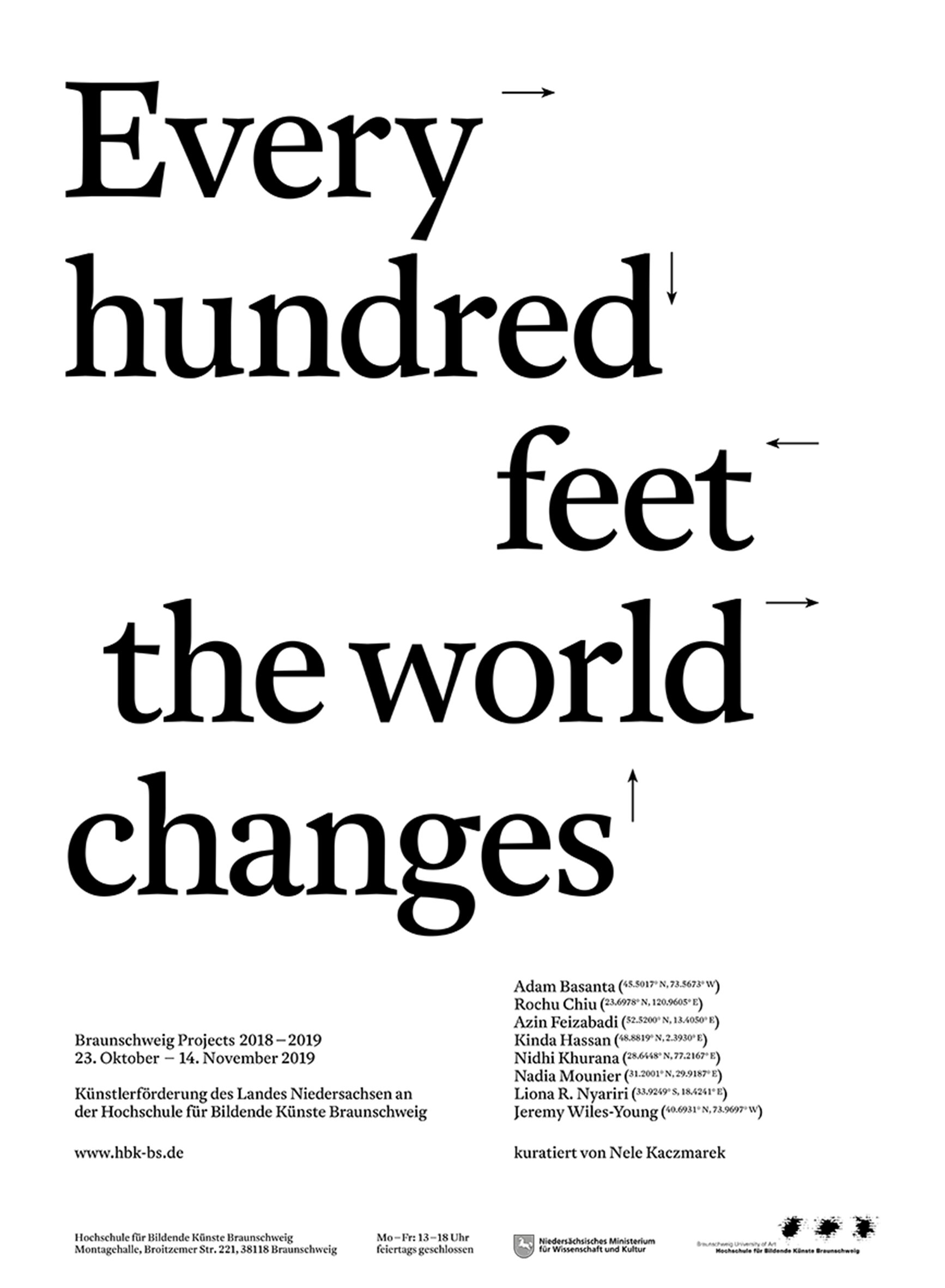 - EVERY HUNDRED FEET THE WORLD CHANGES23rd October 2019The final show of BS Projects 2019 is coming soon,