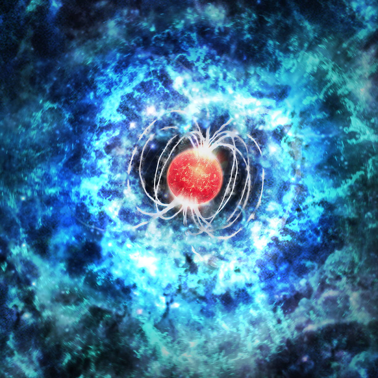 Artist's impression of a newborn magnetar embedded in a superluminous supernova. The magnetic spin-down power can keep the ejecta hotter for longer than in a normal supernova, making it glow brighter and bluer. (Credit: M. Weiss/CfA)