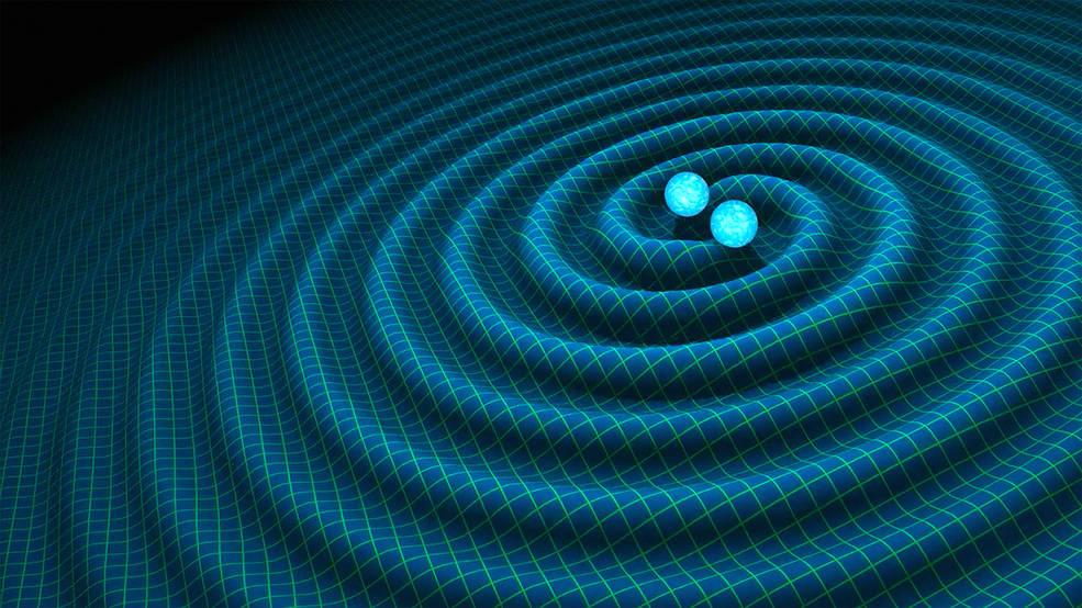 Artist's representation of the gravitational waves emanating from a binary neutron star system. (Credit: R. Hurt / Caltech-JPL)