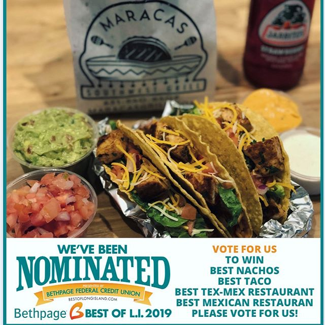 🏆 Best of Long Island! You named us Best Tacos and Best Nachos in 2019! Thank you for nominating us for best Tacos, Nachos, Tex-Mex, and Mexican Restaurant for 2020! Let's do it again! Vote now!