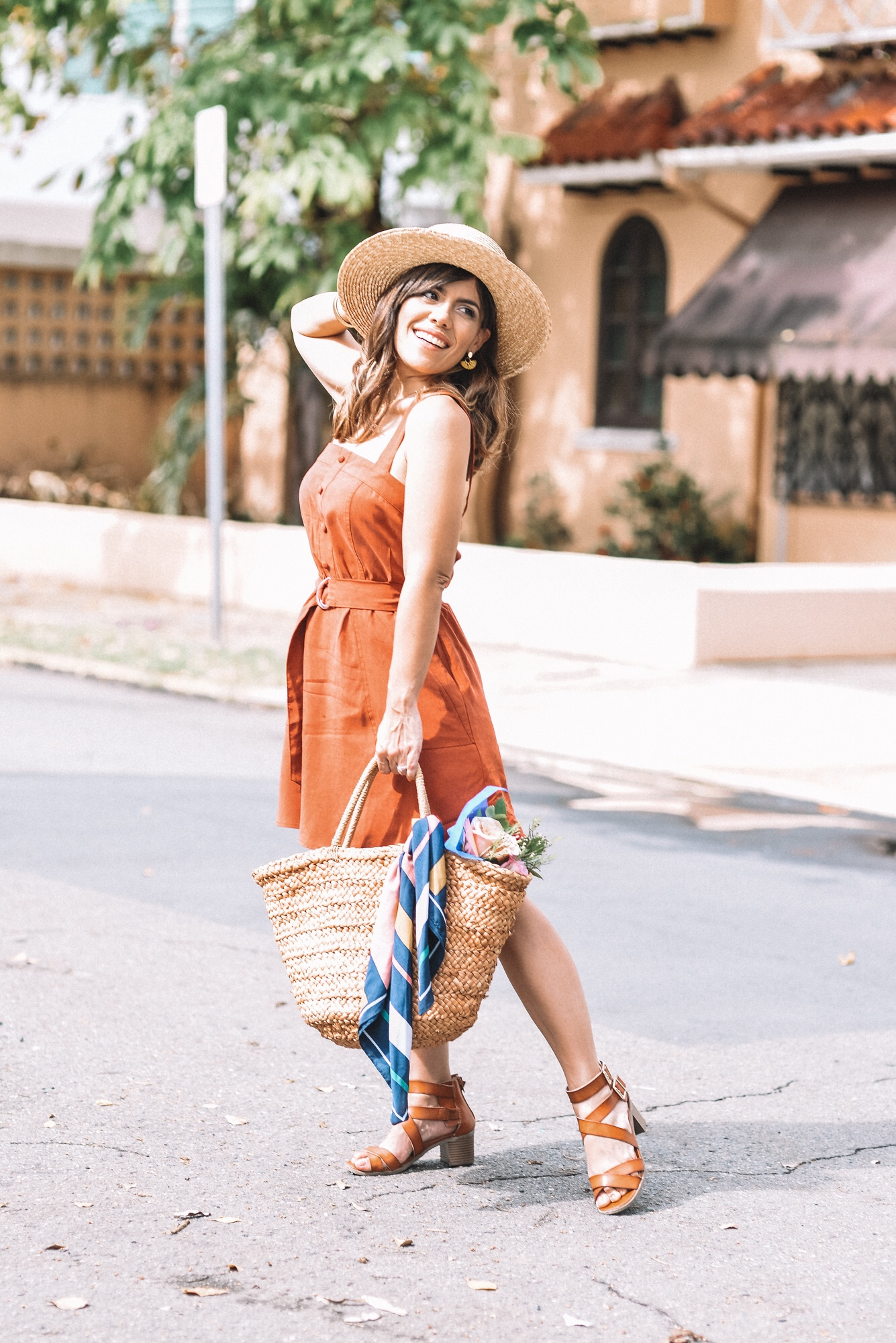 Dress buy  here  | Shoes buy similar  here  | Straw beach bag buy  here | Scarf buy similar  here