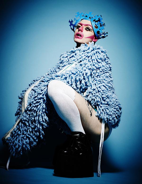 Blue fluffy coat by Riccardo Palmerani