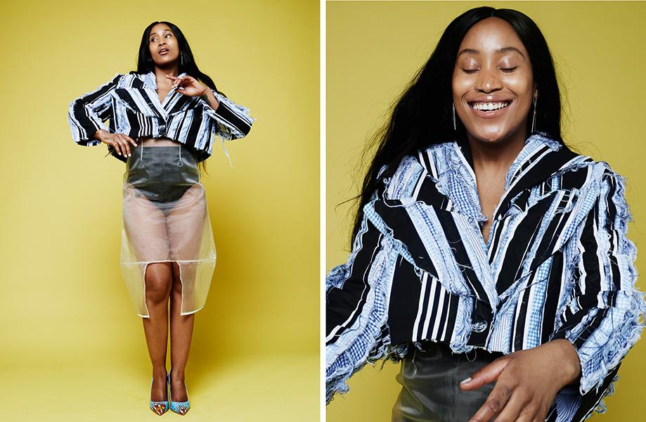 Jacket - Corinne Priestman, Skirt - Sadie Clayton @ Wear The Walk, shorts - stylist's own, Shoes - MAXINE, Earrings - Linnie Mclarty