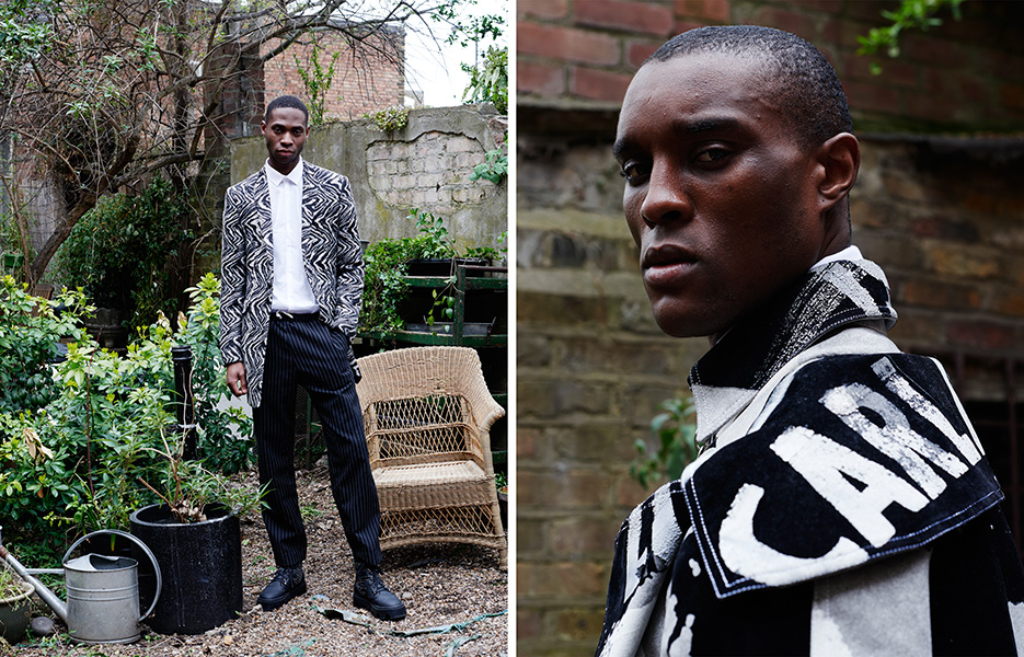 Left: Shoes: Model's own, Ka Wa Key x Underground / Right: All clothes: Tolu Coker