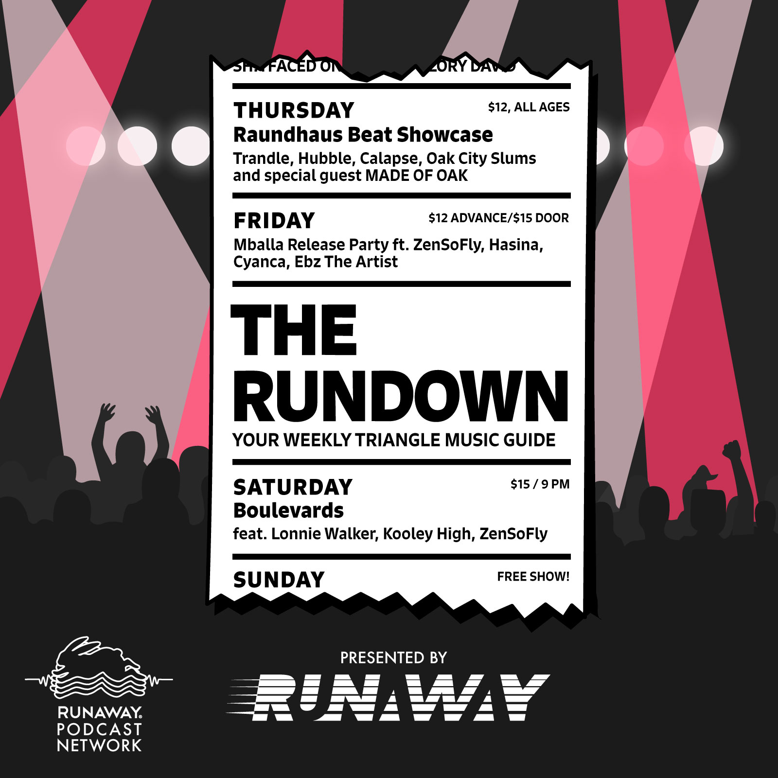 The Rundown is your guide to what's happening in the Triangle. Join Mandy Padgett and I each Monday to let us help you plan your week accordingly.