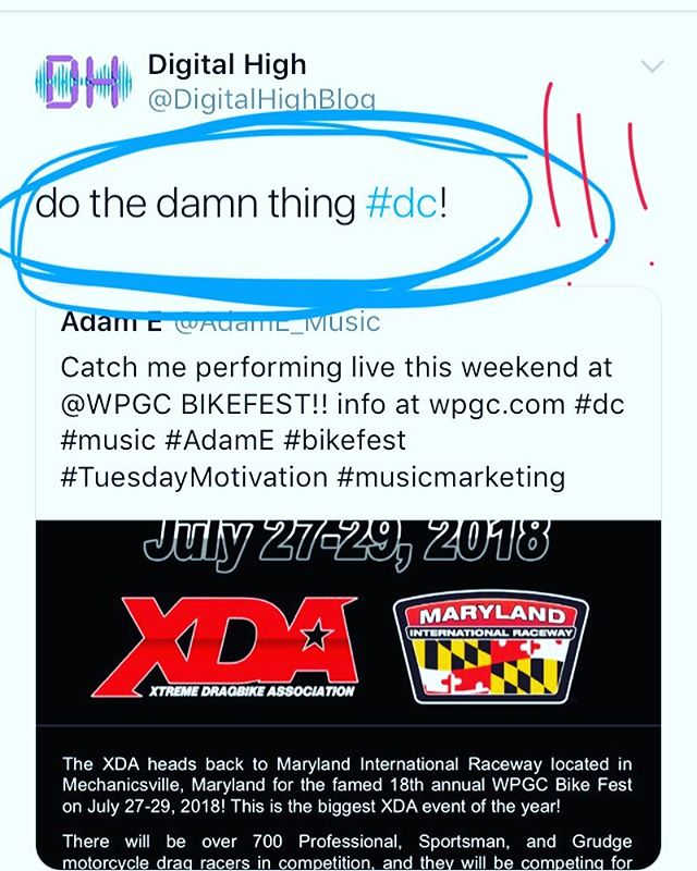 Shout out to @digitalhighblog holding me down getting ready for the @wpgc #bikefest2018 show this weekend Sunday. Have you gotten your tickets yet? The show features live performances by myself @jamesaaronjr @dhxpe @top5dc @iamlesacampbell @iamdonjuan @mrmajor_gmp @iam_tgraves @reesarenee and is headlined by @kingcombs ! I'm coming with the heat and giveaways so get ready to celebrate BikeFest in a big way, featuring DMV radio heavyweights @djflexxdc @tonyredz247 !! #dc #marylandinternationalraceway #bikefest #wpgc #dmv #music #LTD #onyourradio #digitalhighblog #ADAME #adameproject #gethip #bikefest2018
