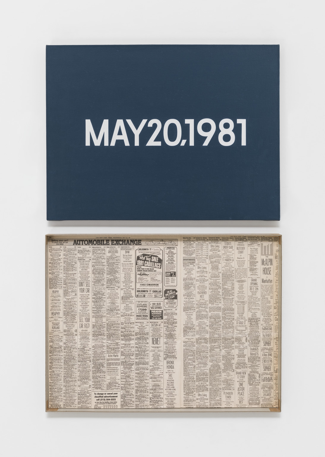 "MAY 20, 1981 (""Wednesday"") , On Kawara Private Collection, 1981"