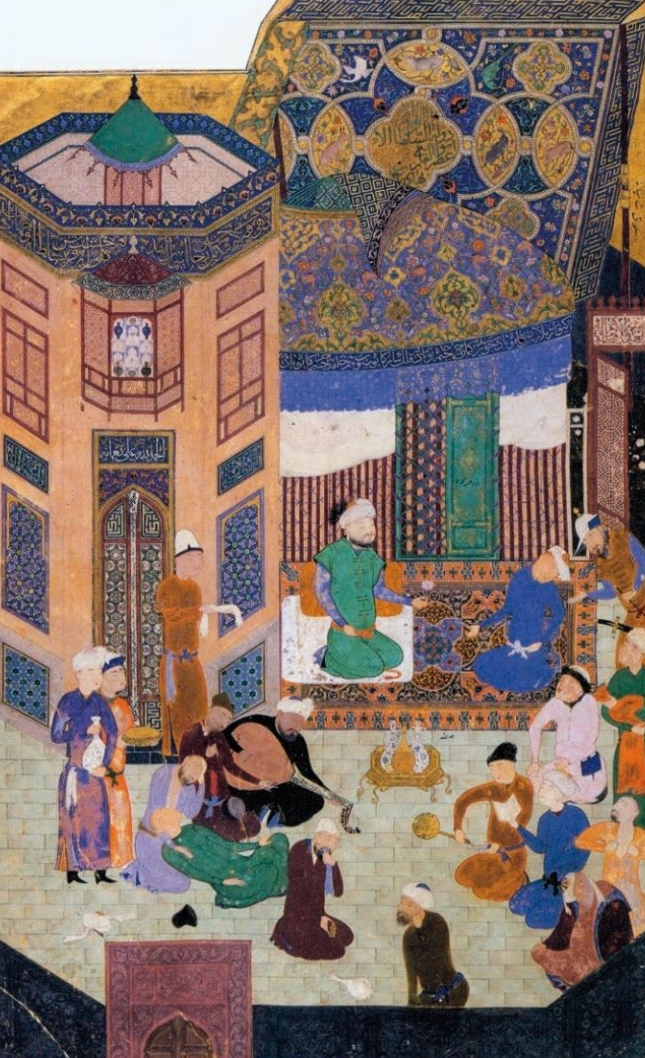 A Party At The Court of Sultan Husayn Bayqara , left leaf of the  Bustan  of Sa'di frontispiece National Egyptian Library, 1488