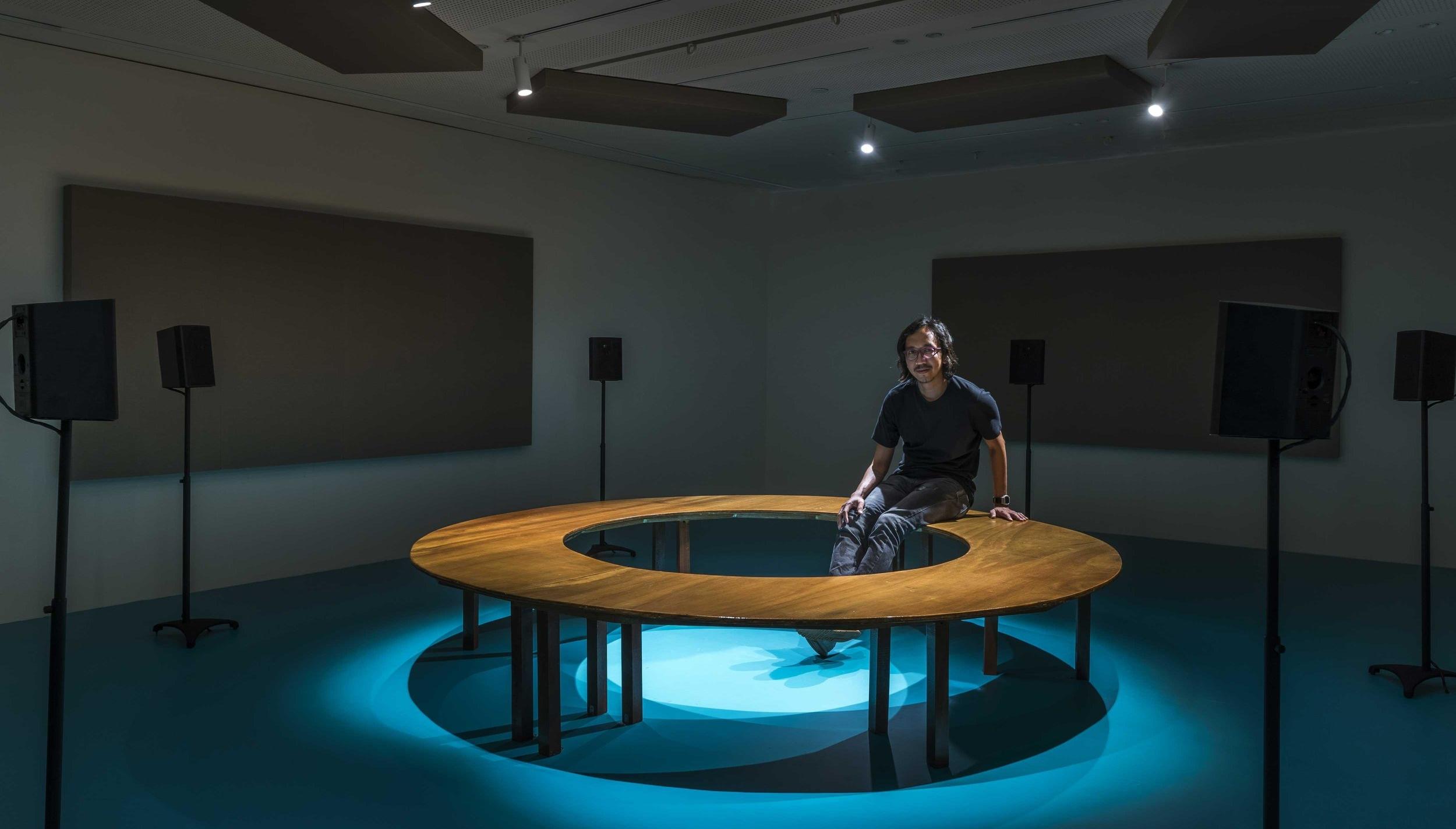 fidelity , Jeremy Sharma 2018, Installation View at Aloft at Hermès  Photography by Edward Hendricks