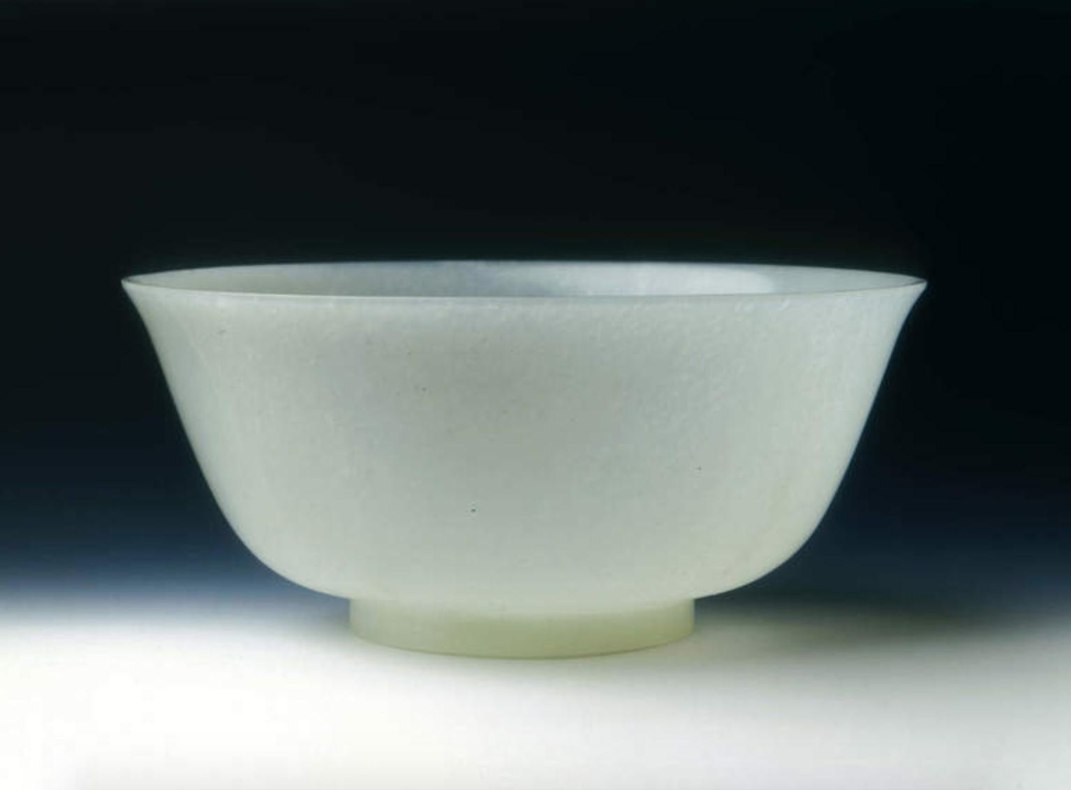 Greenish-white Jade Bowl  Qing dynasty, Qianlong period (1735-1795)