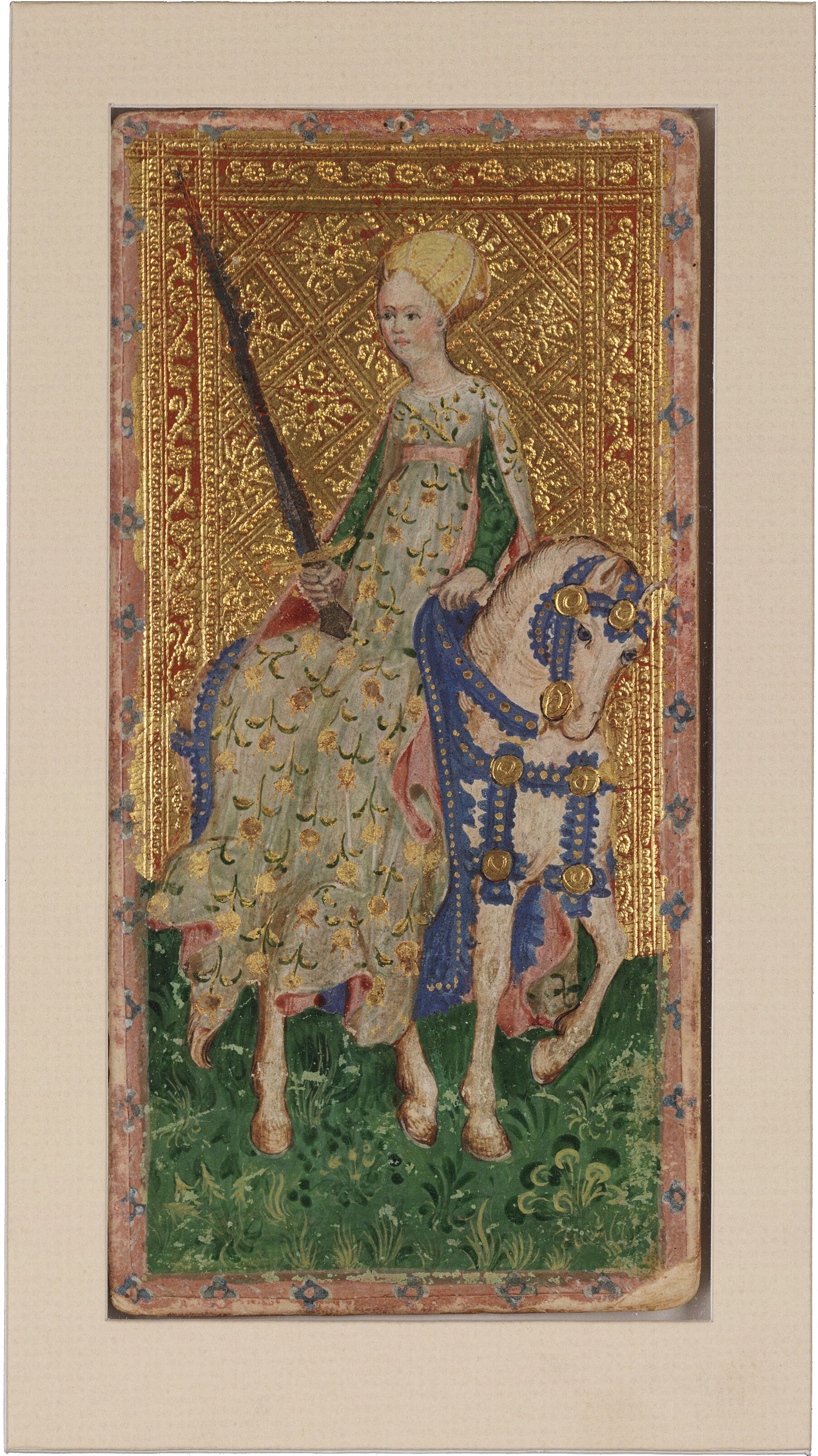 Female Knight (Swords) from the Visconti Tarot , Bonifacio Bembo Beinecke Rare Book and Manuscript Library, c. 1426-1447