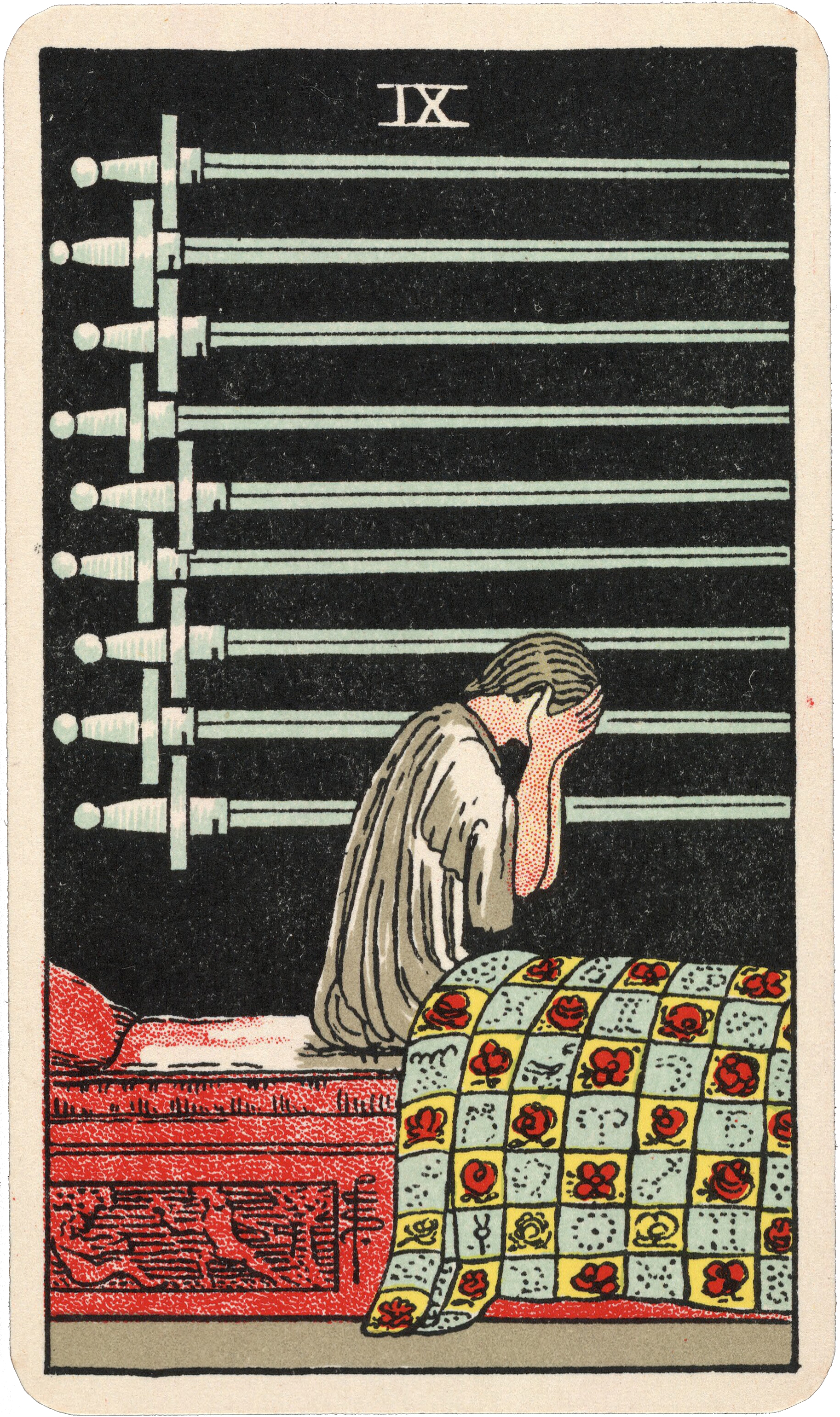 IX of Swords from the Rider-Waite-Smith Tarot , Pamela Colman Smith Beinecke Rare Book and Manuscript Library, c. 1937