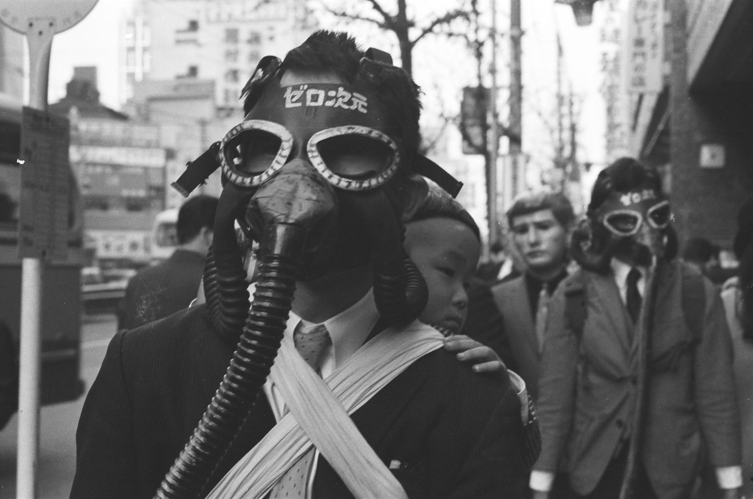 Rituals of Completely Naked Walks with Gas Masks , Hanaga Mitsutoshi   1967, Documentation of performance by Zero Jigen in Shinjuku  Credit: Mitsutoshi Hanaga Project Committee