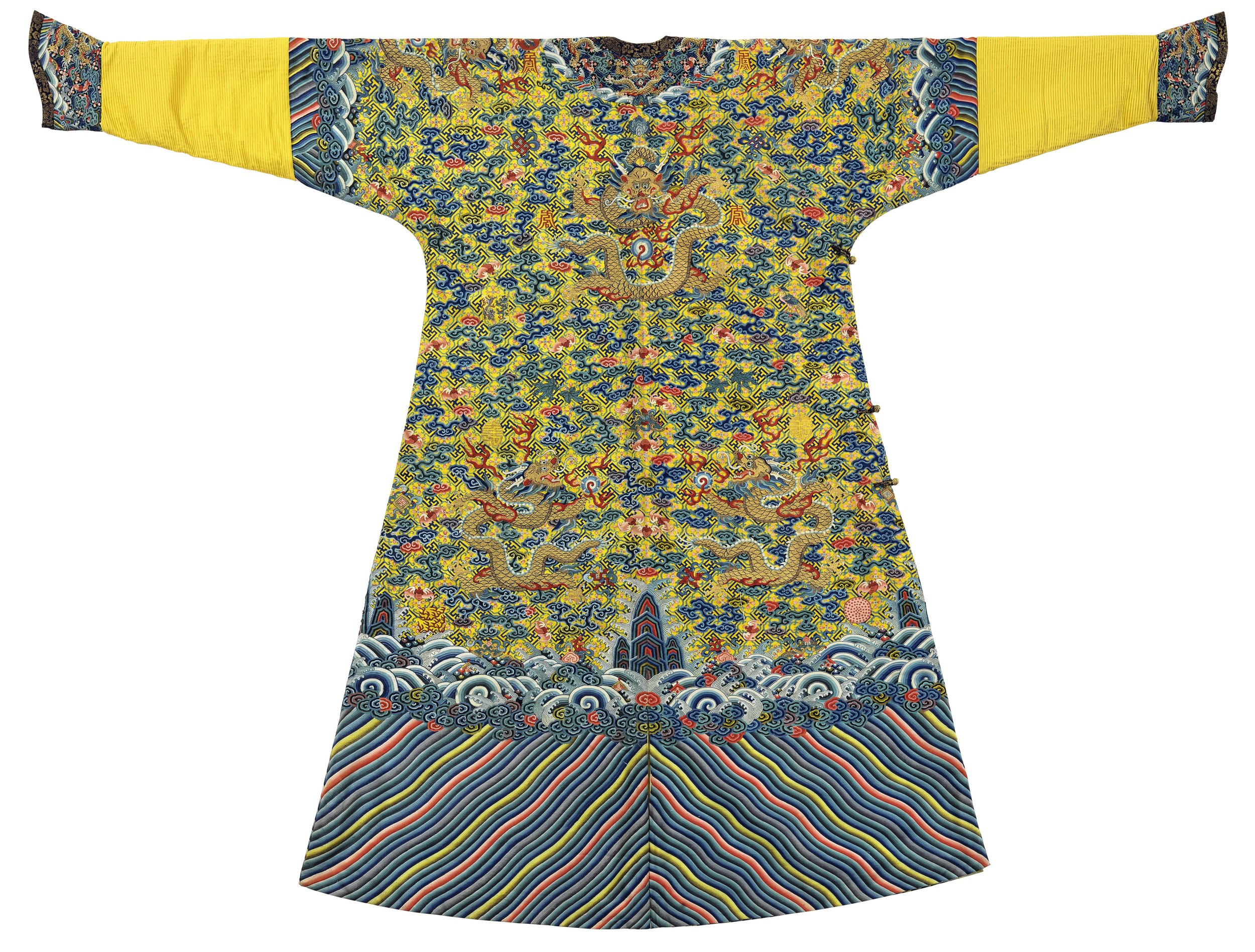 Imperial Yellow Kesi Twelve-Symbol Dragon Robe  Jiaqing Period (1796-1820)