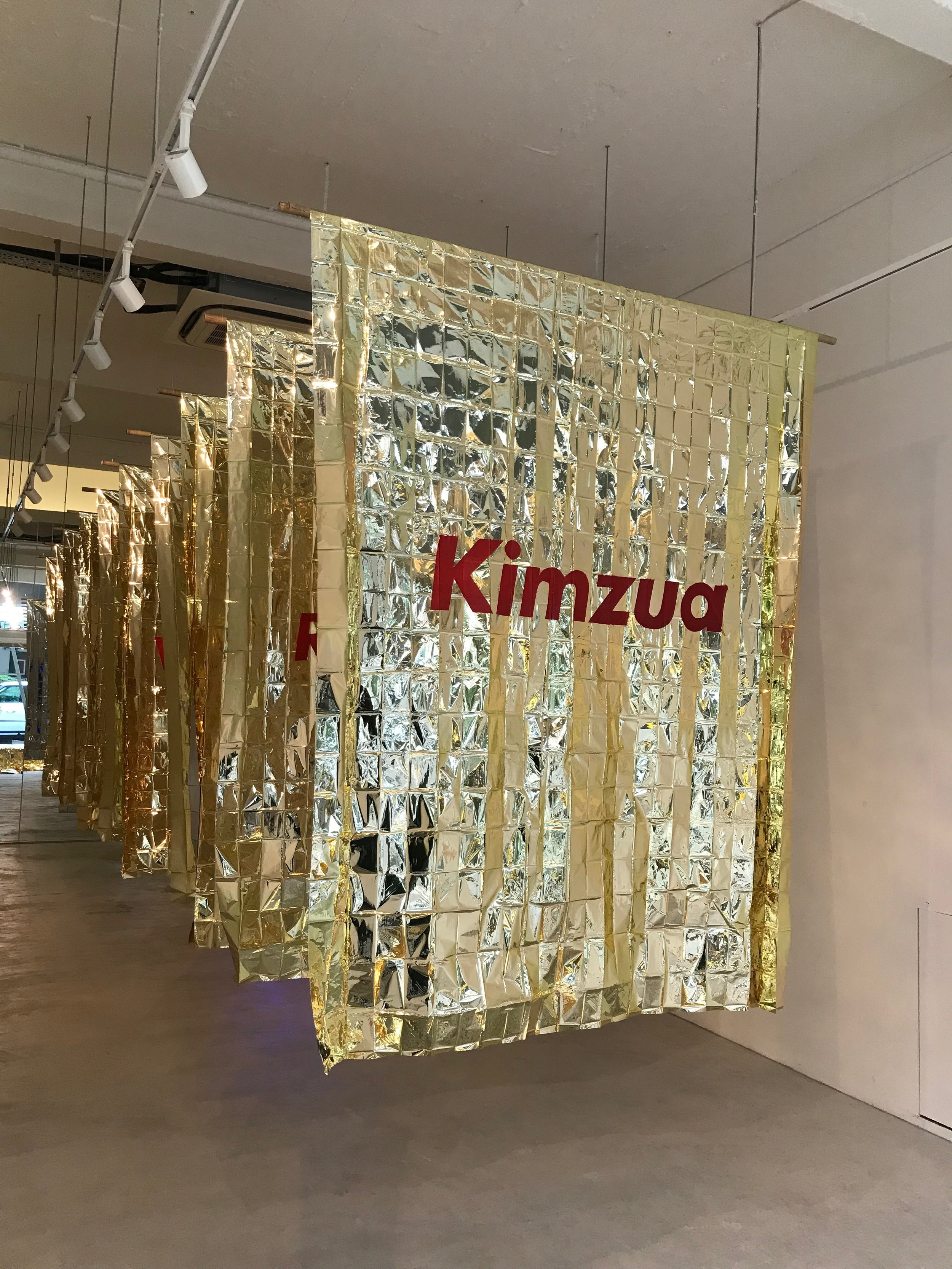 Golden Flags I , Priyageetha Dia 2018, Installation View at Art Porters Gallery