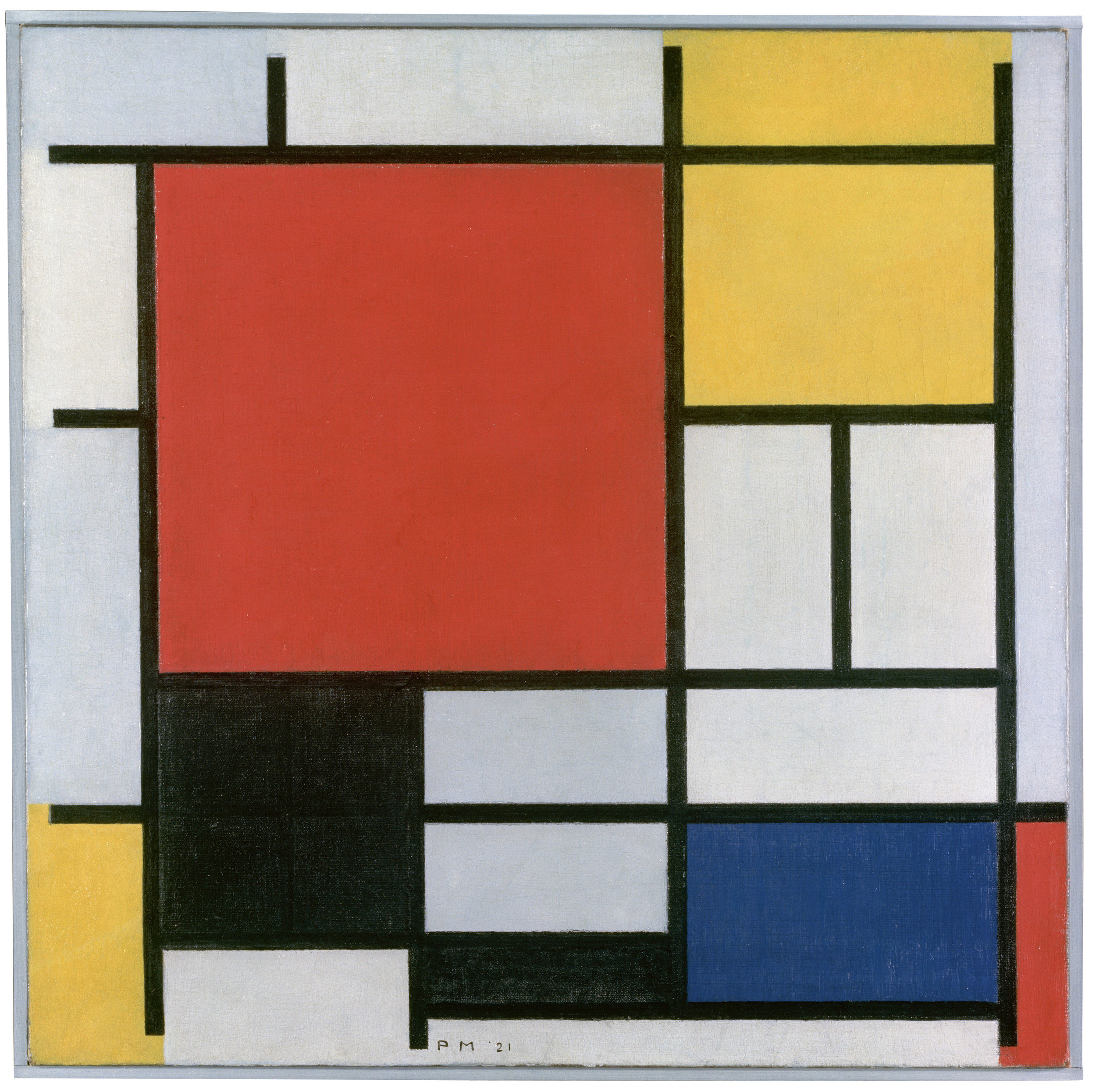 Composition with Large Red Plane, Yellow, Black, Grey and Blue , Piet Mondrian Gemeentemuseum Den Haag, 1921